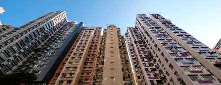 residential building facade, real estate exterior, HongKong - Foto de archivo