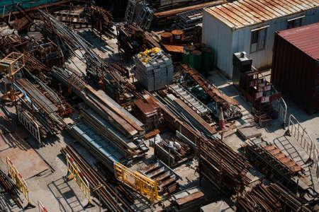 steel bars on construction material on bulding site, Zdjęcie Seryjne
