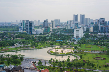 Aerial view of Cau Giay park, Hanoi skyline cityscape at twilight