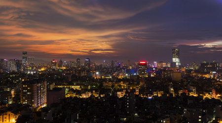 Aerial view of Hanoi skyline at West Lake ( Ho Tay in Vietnamese), at twilight Stock Photo