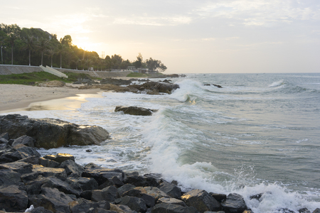 ne: Mui Ne beach, Vietnam, a beautiful beach with long coastline, silver sand and huge waves, in an early morning