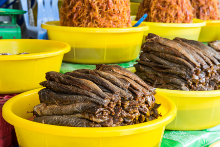 stockfish: Dried fish with salt and spice added, the popular food for rural people in Mekong delta, south of Vietnam Stock Photo