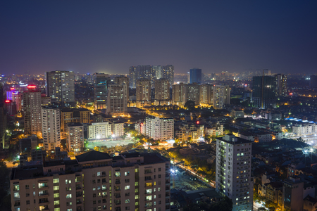 cau: Aerial view of Hanoi skyline cityscape at night. Cau Giay district