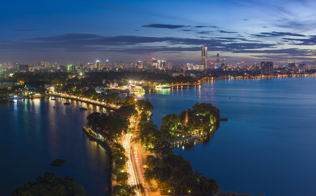 Hanoi skyline cityscape at twilight period. West Lake aerial view 写真素材
