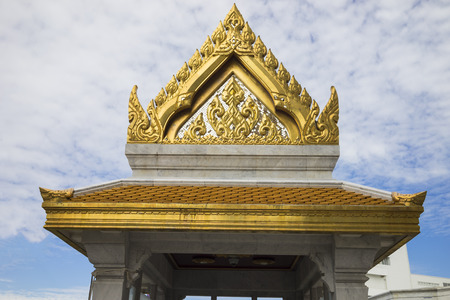 Sculpture roof in Wat Trimitr the old temple in bangkok Stock Photo