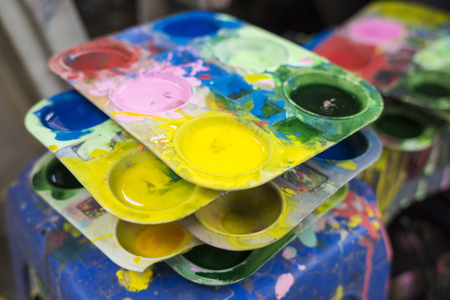 Tray of watercolour for children to learn painting Stock Photo