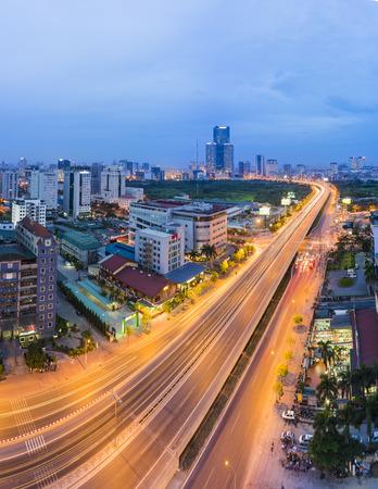 hung: Aerial view of Pham Hung street, Hanoi, Vietnam. Hanoi cityscape at night