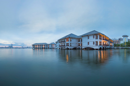 intercontinental: West Lake view with hotel staying above water in Hanoi Stock Photo
