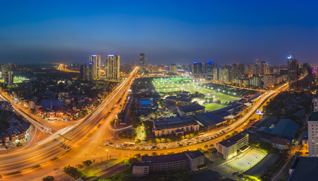 cau: Aerial view of Hanoi skyline cityscape at night. Le Van Luong - Khuat Duy Tien intersection , Cau Giay district