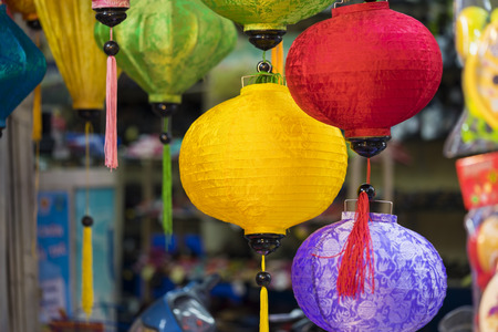 Paper lanterns for sale on Hang Ma street. The street are crowded before Vietnamese Mid-Autumn Festival for children who receive toys, fruit and moon cake as gift