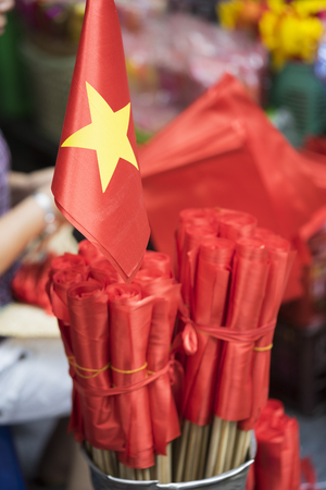 Vietnamese miniature flags for sale on Hang Ma street.