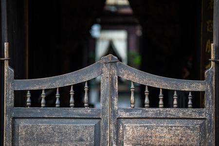 Western retro wooden door of wine pub