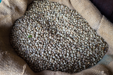 unroasted: Raw coffee beans in sack