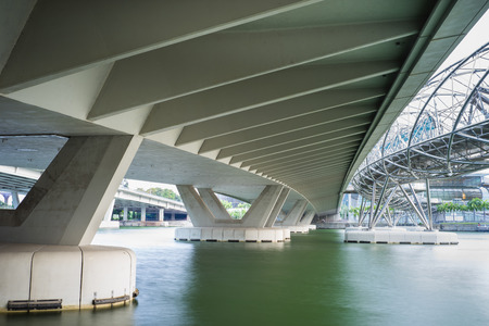 Structure under bridge of Bayfront Ave at Marina Bay in Singapore
