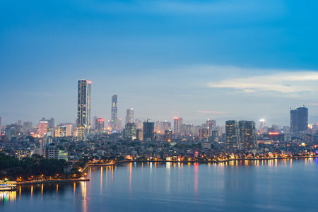 Aerial skyline view of West Lake in Hanoi, Vietnam