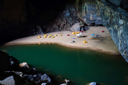 caving: Hang En (swallow cave), the entrance to go to Son Doong Cave, the largest cave in the world, is in the heart of the Phong Nha Ke Bang National Park in the Quang Binh province of Central Vietnam