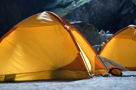 Tents in Hang Son Doong cave, the largest cave in the world by passage volume in Quang Binh province, Vietnam