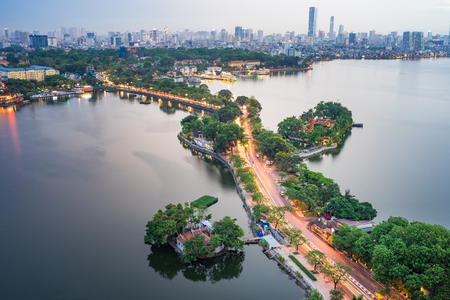 Aerial view of Hanoi skyline with Thanh Nien street at West Lake. Hanoi cityscape at twilight 写真素材