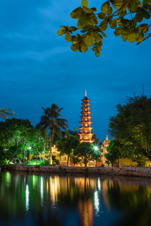 Tran Quoc the oldest temple in Hanoi at twilight Stock Photo