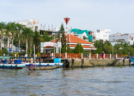 can tho: Can Tho, Vietnam - Nov 30, 2014: Ninh Kieu boat station viewing from river side, in Can Thoi city