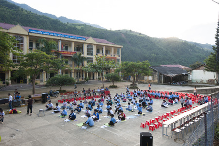recently: Yen Bai, Vietnam - Sept 22, 2012: A school meeting organized on playground of Mu Cang Chai school. There is more and more investment on education in mountainous region in Vietnam recently Editorial