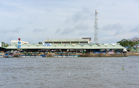 can tho: Can Tho, Vietnam - Nov 30, 2014: wide view of An Binh market from river side, in Mekong detal, south of Vietnam
