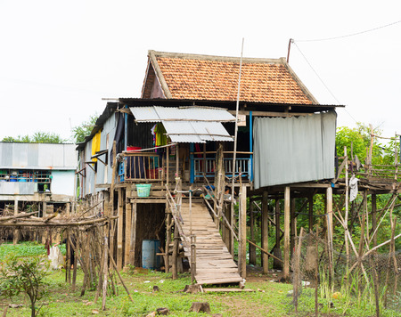 An Giang, Vietnam - Nov 29, 2014: Exterior view of Cham (champa, campa) rural people house in Mekong delta, Vietnam