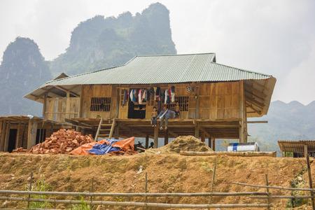 resident: Yen Bai, Vietnam - Apr 11, 2014: A typical rural resident cottage in mountainous region in Yen Bai, Vietnam