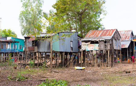 resident: An Giang, Vietnam - Nov 29, 2014: Exterior view of Cham (champa, campa) rural people houses in Mekong delta, Vietnam