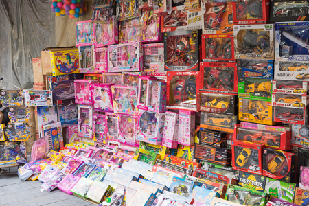 Hanoi, Vietnam - Apr 5, 2015: Children toy shop in Hang Can street, Hanoi Editorial