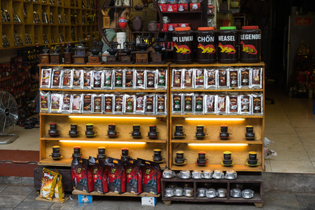 Hanoi, Vietnam - Apr 5, 2015: Various brand name coffee for sale in Hang Buom street, Hoan Kiem district. Vietnam is the worlds second largest coffee exporter Editorial