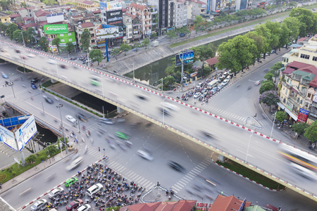 overbridge: Hanoi, Vietnam - May 14, 2015: Aerial view of Hanoi traffic at intersection Nguyen Chi Thanh - Lang - Tran Duy Hung street