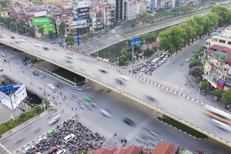 Hanoi, Vietnam - May 14, 2015: Aerial view of Hanoi traffic at intersection Nguyen Chi Thanh - Lang - Tran Duy Hung street