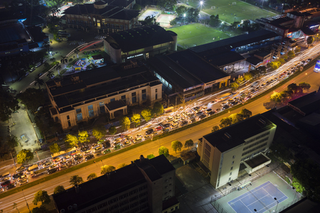 nightview: Hanoi, Vietnam - July 9, 2015: Aerial view of Hanoi traffic at night. Traffic jam on Le Van Luong st.