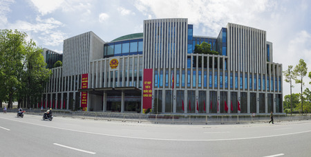 congressional: Hanoi, Vietnam - May 24, 2015: Panorama street view of new National Assembly Building, was a public large building, located on Ba Dình Square across the Ho Chi Minh Mausoleum. Inaugurated in late 2014