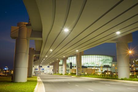 overbridge: Hanoi, Vietnam - July 12, 2015: Under the overpass bridge at Noi Bai International Airport. New airport T2. Editorial