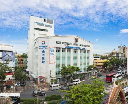 Bangkok, Thailand - June 28, 2015: Aerial exterior view of Bangkok Hospital Chinatown, the part of the nations largest hospital group (Bangkok Hospital Group) Editorial