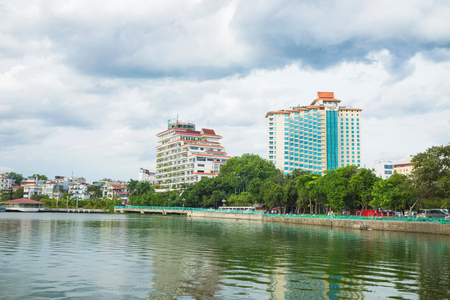 Hanoi, Vietnam - Aug 16, 2015: West Lake view with Thanh Nien street, Sofitel 5 star hotel. Hanoi cityscape in clear day