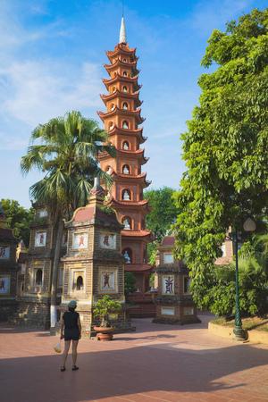 Hanoi, Vietnam - Aug 23, 2015: Yard panoramic view of Tran Quoc temple. Tran Quoc is the oldest temple in Hanoi