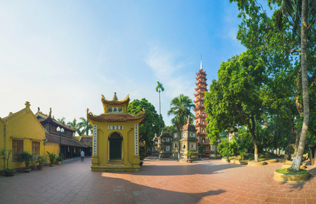 oldest: Hanoi, Vietnam - Aug 23, 2015: Yard panoramic view of Tran Quoc temple. Tran Quoc is the oldest temple in Hanoi