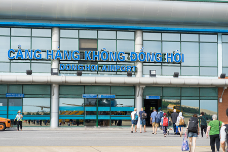 Quang Binh, Vietnam - June 16, 2016: Exterior front view of arrival hall at Dong Hoi airport