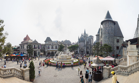 nang: Da Nang, Vietnam - Apr 2, 2016: Panorama view of  Ba Na Hills Mountain Resort, the multi-level complex filled with amusement rides, attractions, restaurants, roller skating... Editorial