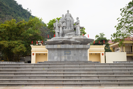 Ha Giang, Vietnam - Feb 15, 2016: Ho Chi Minh president statue in center square in Ha Giang city Editorial