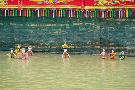 Hanoi, Vietnam - Sep 20, 2015: Common Vietnamese water puppetry state in Dao Thuc village Editorial