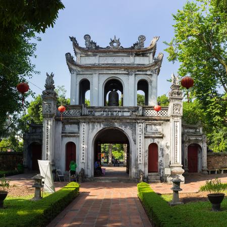 Hanoi, Vietnam - July 24, 2016: Great Portico of Temper of Literature ( Van Mieu ) in Van Mieu street
