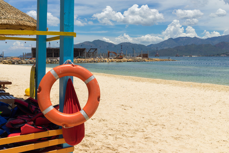 Lifebuoy on a sea background