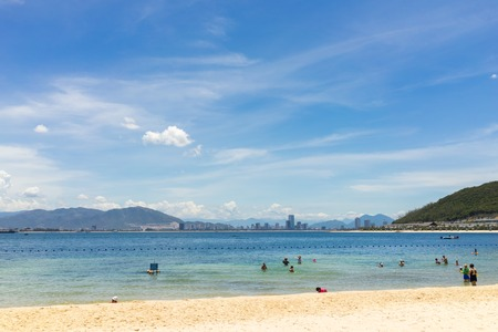 hon: Nha Trang, Vietnam - July 31, 2016: Beach in Vinpearl Land, Hon Tre island