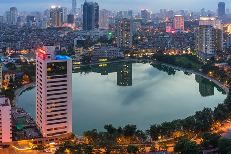 Hanoi city by twilight period, with Giang Vo lake, Ba Dinh district. Aerial skyline view. Stockfoto