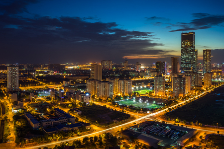 elevated view: Hanoi city skyline view by twilight period, Pham Hung street, Cau Giay district