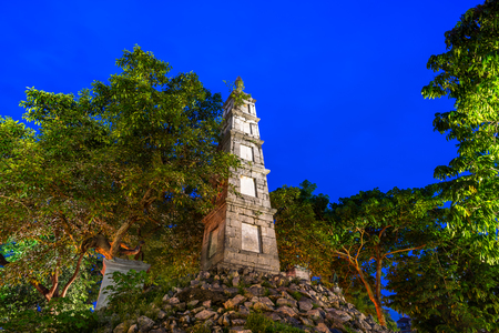 Thap But (Pen Tower) in Hanoi, a ten-meter high stone structure whose tip resembles a writing brush, staying by Hoan Kiem lake, center of Hanoi Stock Photo